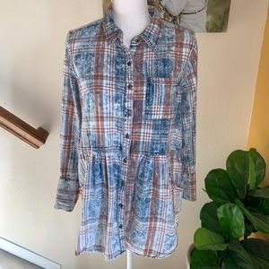 Soft surroundings flannel vintage look tunic top L